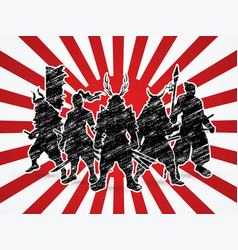Group of samurai warrior pose vector