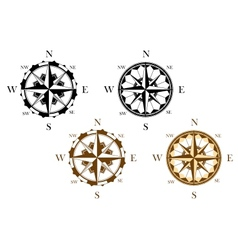 Set of antique compasses vector