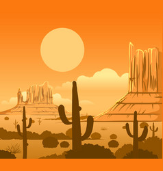 America wild west desert landscape vector