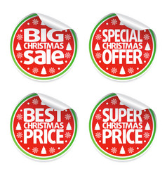Set of christmas sale stickers vector