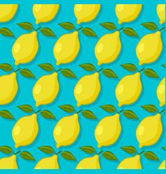lemons on blue background seamless pattern vector image