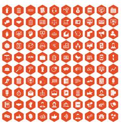 100 dialog icons hexagon orange vector