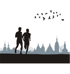 Two runners on the horizon vector