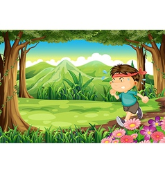 A boy jogging in the middle of the forest vector