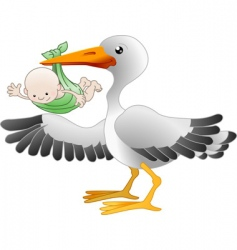 Stork with a newborn baby vector