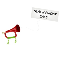 A musical bugle blowing black friday flag vector