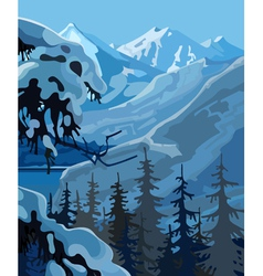 Winter landscape in mountains vector