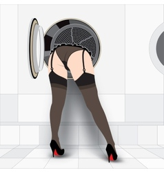 Washing machine and sexy woman vector