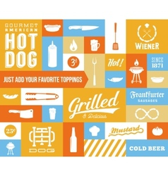 Hot dog icon and typography set vintage vector