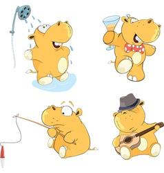 A set of hippos cartoon vector image