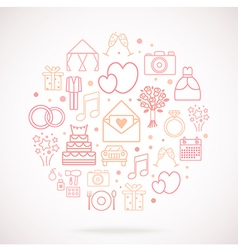 Set of wedding icons grouped in circle vector