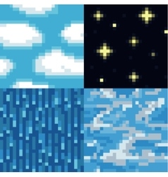 Set of pixel sky textures vector
