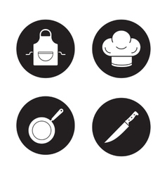 Cooking equipment black icons set vector