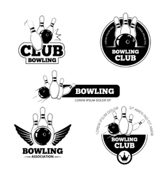 Bowling labels emblems and badges set vector