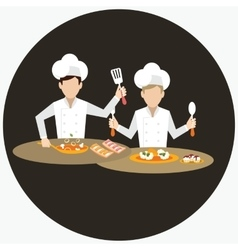 Two chef working together prepare for the dish vector