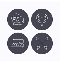 Brilliant gift box and wedding rings icons vector