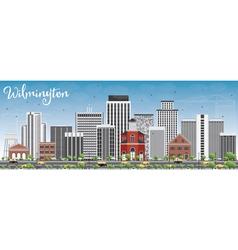 Wilmington skyline with gray buildings vector