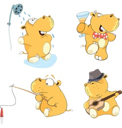 A set of hippos cartoon vector image