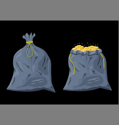 Bag with gold coins cloth fabric money bag vector