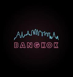 Bangkok skyline neon style vector