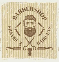 barber shop vintage poster grunge style vector image vector image