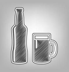 Beer bottle sign pencil sketch imitation vector