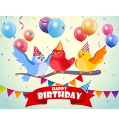 Birthday celebration with cute birds vector image vector image