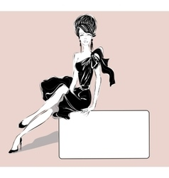 Black and white fashion woman with business card vector image