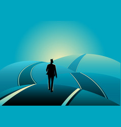 Businessman standing on the asphalt road over the vector