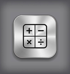 Calculator icon - metal app button vector image