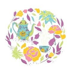 Card for tea party vector