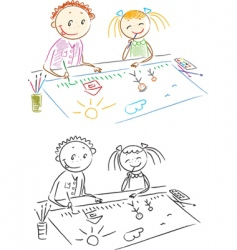 children paints vector image