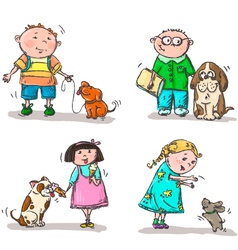 Children with their dogs vector