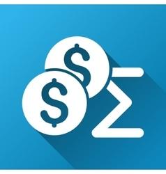 Coins summary gradient square icon vector