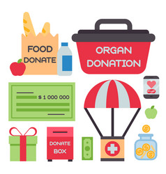 Donate money box set symbols help philanthropy vector
