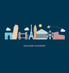 Europe skyline silhouette line style vector image vector image