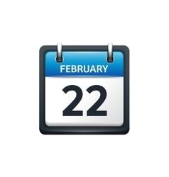 February 22 calendar icon vector