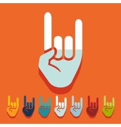 Flat design rock hand gesture vector