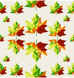 Geometric autumn leaves seamless pattern vector image vector image