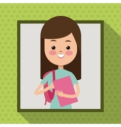 Girl with book bag student frame dot shadow vector