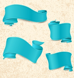Hand drawn blue ribbons vector image