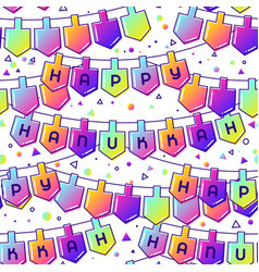 Happy hanukkah celebration seamless pattern with vector