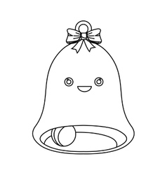 Happy merry christmas bell kawaii style vector