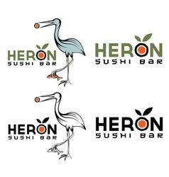 Heron sushi bar design template vector
