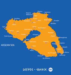Island of lesvos in greece orange map and blue vector