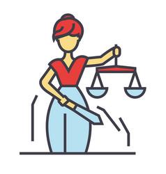 Justice statue themis femida law concept line vector