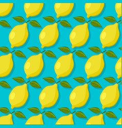 Lemons on blue background seamless pattern vector