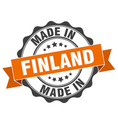 made in finland round seal vector image