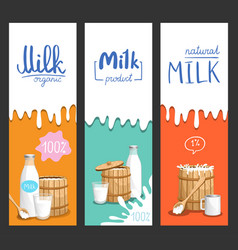 milk products vertical flyer set vector image