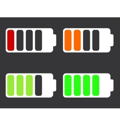 modern battery icons on black background vector image